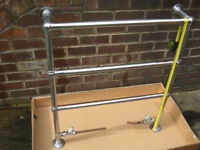 Towel rail, Myson type approx. 810mm wide, 940mm high, 177mm front to rear fixing.