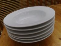 Six White Ceramic dishes