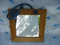 Dolphin Mirror with Pine Frame Rope hanging