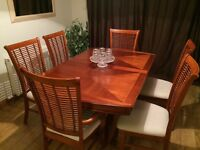 Solid Mahogany dining table and 6 chairs