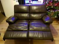 3 and 2 seater brown leather recliner