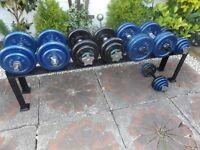 122 kg in total dumbbells set with rack