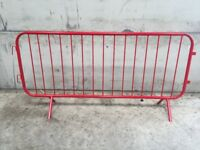 Pedestrian safety control barriers red powder coated