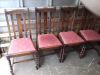 Barley Twist Table and Chairs, look great Solid Oak FREE delivery Antique