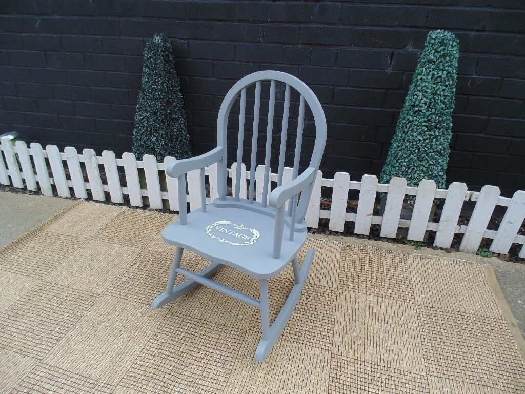 SOLID PINE CHILDREN ROCKING CHAIR PAINTED WITH LAURA ASHLEY PARIS GREY VERY SOLID CHAIR