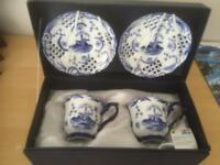 Collectible Delphi blue tea cup and saucer set