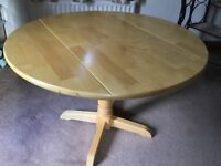 Circular pedestal table, drop leaf with lovely pale oak effect surface