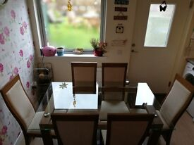 Dining Table and 6 Chairs-Comes with 2 Tops-Glass or Wood