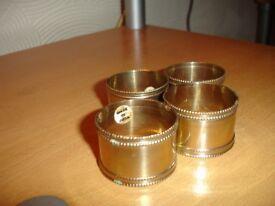 4 BRASS NAPKIN RINGS---NEW