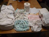 Birth-to-potty set of Motherease real cloth nappies, wraps and accessories (RRP over £300)