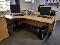 6 desks (2 with built in pedestals) and 3 additional pedestals. All in very good condition