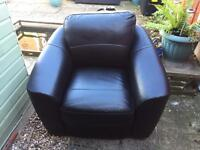 Black leather sofa 2 seater and single seater from Harvey's sofa shop