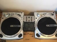 TT1610 Numark Belt Drive Decks (x2) AND Numark DM950 Mixer with free headphones