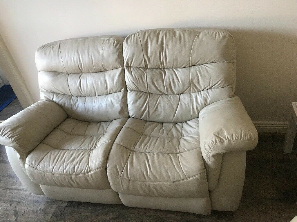 White Leather Recliner Two Seat And Armchair