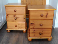 Pair 2 Solid Pine Bedside Cabinet Table 3 Drawers bedroom Furniture In Good Clean Condition