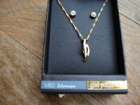 Gold Plate Necklace and Earring Set--Brand New in Box!