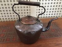 Large Victorian Farmhouse Copper Kettle With Brass Handle