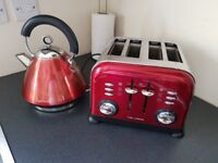 Morphy Richards Accents kettle and 4 slice toaster set in red