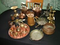Vintage collection of copper and brass kitchen items kettles and pans