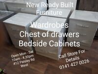 FURNITURE/ NEW READY MADE/WARDROBES/CHEST OF DRAWERS/BEDSIDE CABINETS
