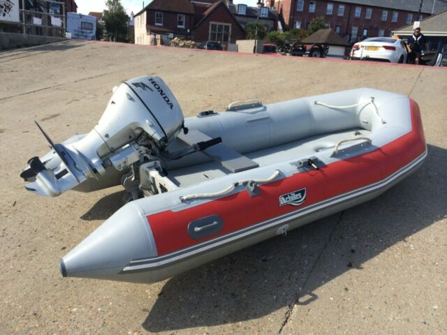 Motorized Pontoon, dinghy with Outboard - Inflatable Motor Boat, RIB,  Fishing/Diving/River Boat | in Grays, Essex | Gumtree