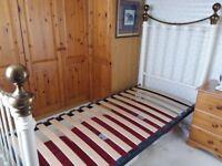3' Single Ivory & Brass Bedstead
