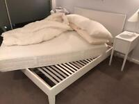 IKEA double bed + IKEA double bed frame + bedding