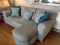 Blue grey schreiber sofa chaise . Chaise can be moved to either side .