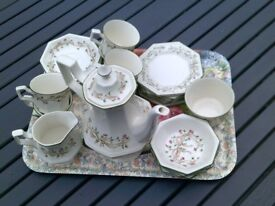 ETERNAL BEAU CHINA VGC COFFEE POT + 6 CUPS & 6 SAUCERS, 4 SMALL BOWLS, SUGAR BOWL & MILK JUG