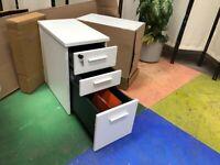 2 New Office 3 Drawer Under Desk Slimline Mobile Filing Pedestal/2 Keys