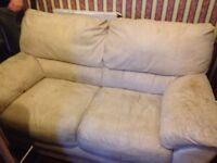 Large 2 seater cream sofa faux suede