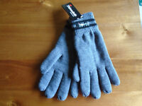 "BRAND NEW GREY and BLACK WOOL GLOVES by ""THINSULATE"", 40g, ONE SIZE, NEVER WORN"