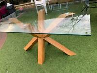 Modern Solid Oak /glass dining table