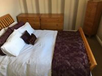 Solid wood bedroom furniture for sale - kingsize bed, two chests of drawers and tallboy