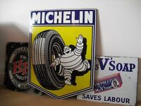 1961,Michelin Tyre,Metal Enamel Advertising Sign,Garage,Stunning Condition,Dunlop,Shell,BP,Castrol