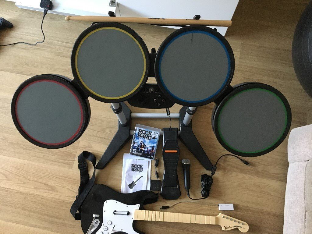 Rock Band 2 PS3 Drums, Guitar and Mic