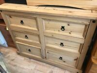 Mexican style 6 wide chest of Drawers