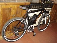 Orange electric mountain bike MTB