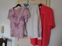 3 blouses - pink size 10 - red size 12 - white size 12