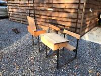 School desks vintage wooden fixed chairs