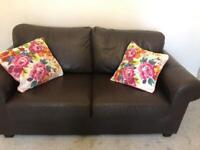 Lovely brown soft Italian leather 2 seater sofa
