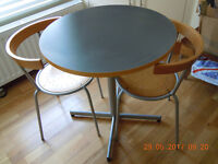 Small round table and two chairs.Table D-70cm. H-73cm.Look for other items I'm selling.