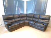 Leather corner sofa with recliners