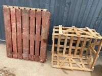 Wooden pallets x2 & crate x1