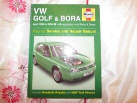 USED HAYNES MANUAL VW GOLF&BORA 1998-2000 PETROL&DIESEL