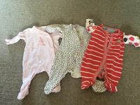 3 x girls baby grows
