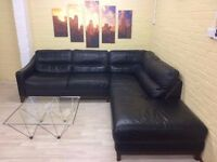 Large Black Leather Corner Sofa