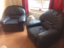 MUST GO BY SAT! Leather Chairs (x2) Dark Blue or Grey OPEN TO SENSIBLE OFFERS