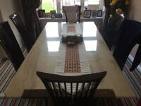 Pedestal Marble Dining Table + 6 Chairs