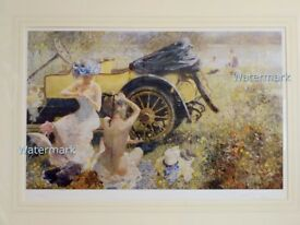 Bathing Party w 1912 Renault - Dexter Brown Limited Edition Print fine art painting new